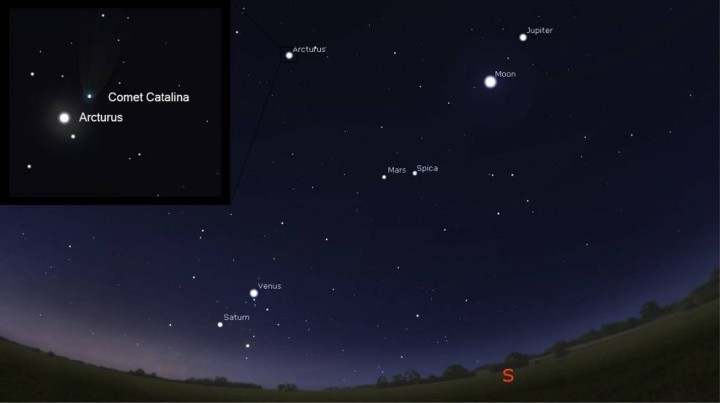This graphic, also created using Stellarium, indicates the approximate position of Comet Catalina, tagged C/2013 US10 (Catalina), relative to the moon, planets and the bright star Arcturus in the pre-dawn sky (shortly before sunrise local time) on Jan. 1. Credits: Stellarium/David Cantillo