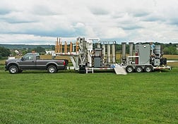 ARS scientists are testing this mobile pyrolysis system for on-farm production of bio-oil from agricultural waste