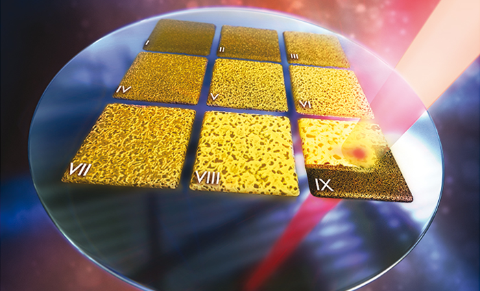 A tunable laser creates a miniature library of nanoporous gold. Image by Ryan Chen/LLNL.