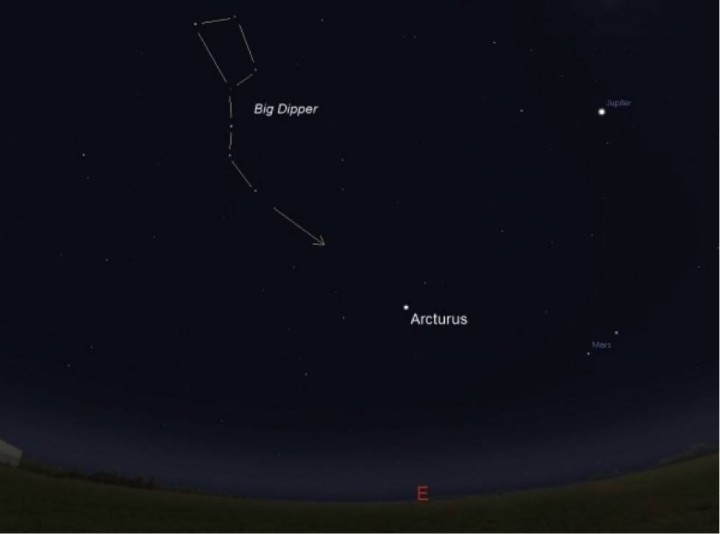 This simplified sky chart, using Stellarium planetarium software, can serve as an aid to find Comet Catalina on Jan. 1. The Big Dipper, particularly the 'handle,' easily guides the skywatcher to Arcturus. In turn, using binoculars to scan near the bright star will increase the odds of finding this rather faint comet. Credits: Stellarium/Rob Landis