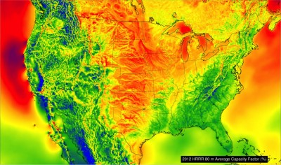 A high-resolution map based on NOAA weather data shows a snapshot of wind energy potential across the United States in 2012. Image credit: Chris Clack/CIRES