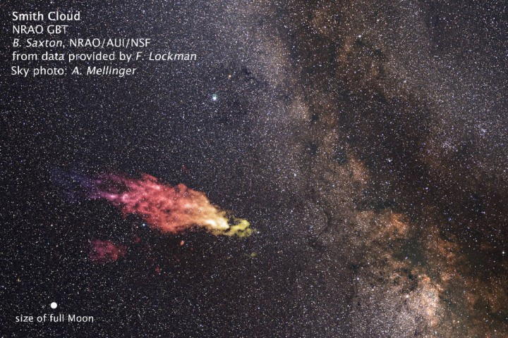 This composite image shows the size and location of the Smith Cloud on the sky. The cloud appears in false-color, radio wavelengths as observed by the Green Bank Telescope in West Virginia. The visible-light image of the background star field shows the cloud's location in the direction of the constellation Aquila. Credits: Saxton/Lockman/NRAO/AUI/NSF/Mellinger