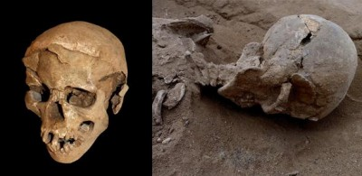 Left: Skull of a man found lying prone in the lagoons sediments. The skull has multiple lesions consistent with wounds from a blunt implement. Right: The skull in situ.Image credit: Marta Mirazón Lahr