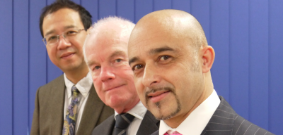 Inventor Professor Zhong You, Chairman Brian Howlett, and CEO Mike Karim of Oxford Endovascular. Image credit: Oxford Endovascular