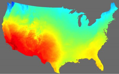 A high-resolution map based on NOAA solar irradiance data shows a snapshot of solar energy potential across the United States. Image credit: Chris Clack/CIRES