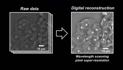 Raw data is transformed into the pixel super-resolution image. Credit: Ozcan Lab