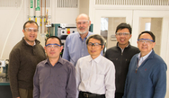 A team of Argonne researchers (from left, Khalil Amine, Jun Lu, Larry Curtiss, Zonghai Chen, Kah Chun Lau, and Hsien-Hau Wang) have developed a way to create stable lithium superoxide in a lithium-air battery system.