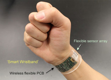 "The new sensor developed at UC Berkeley can be made into ""smart"" wristbands or headbands that provide continuous, real-time analysis of the chemicals in sweat. Image credit: UC Berkeley photo by Wei Gao"