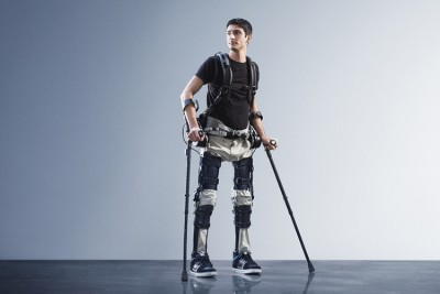 "Steven Sanchez, who was paralyzed from the waist down after a BMX accident, wears SuitX's Phoenix. ""If I had this it would change a lot of things,"" he says. Image credit: SuitX"