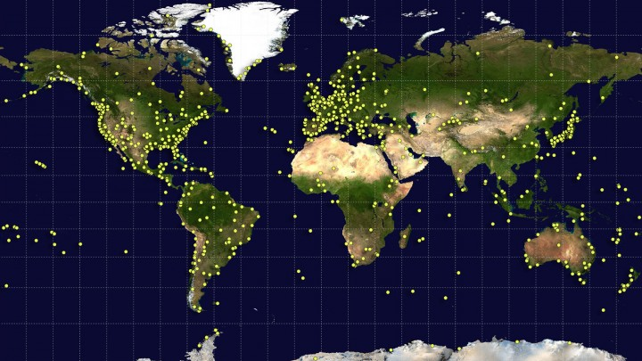 "Sites around the world (yellow dots) contributed data and serve as ""landmarks along a trail"" for the newest update to a global standard called the International Terrestrial Reference Frame. Each site conducts precision measurements using at least one and up to four geodetic techniques. Image credit: NASA/Earth Observatory/GSFC"