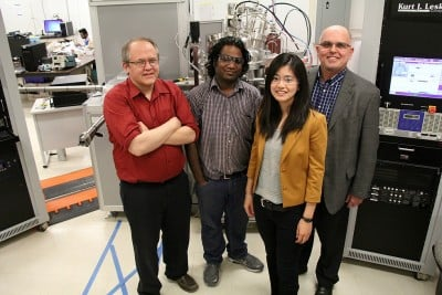 Electrical engineering PhD student Gem Shoute (second right) is the lead author on a research paper demonstrating a powerful new flexible transistor. The team, which includes electrical engineering professor Doug Barlage, Triranta Muneshwar, Shoute and materials engineering professor Ken Cadien, published their work in Nature Communications.