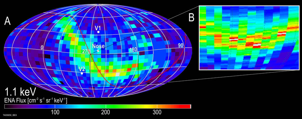 The IBEX ribbon is a relatively narrow strip of particles flying in towards the sun from outside the heliosphere. A new study corroborates the idea that particles from outside the heliosphere that form the IBEX ribbon actually originate at the sun – and reveals information about the distant interstellar magnetic field. Credits: SwRI