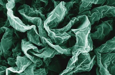Wrinkles and crumples, introduced by placing graphene on shrinky polymers, can enhance graphene's properties. Image credit: Hurt and Wong Labs / Brown Unviversity