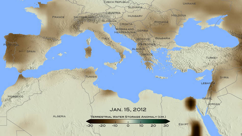 For January 2012, brown shades show the decrease in water storage from the 2002-2015 average in the Mediterranean region. Units in centimeters. The data is from the Gravity Recovery and Climate Experiment, or GRACE, satellites, a joint mission of NASA and the German space agency. Credits: NASA/ Goddard Scientific Visualization Studio