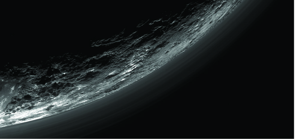 This image of haze layers above Pluto's limb was taken by the Ralph/Multispectral Visible Imaging Camera (MVIC) on NASA's New Horizons spacecraft. About 20 haze layers are seen; the layers have been found to typically extend horizontally over hundreds of kilometers, but are not strictly parallel to the surface. For example, scientists note a haze layer about 3 miles (5 kilometers) above the surface (lower left area of the image), which descends to the surface at the right. Credits: NASA/JHUAPL/SwRI/Gladstone et al./Science (2016)