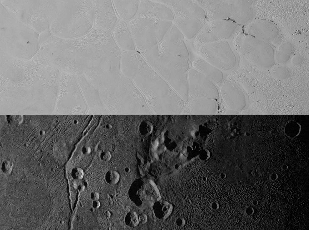 "Above are New Horizons' views of the informally named Sputnik Planum on Pluto (top) and the informally named Vulcan Planum on Charon (bottom). The Sputnik Planum strip measures 228 miles (367 kilometers) long, and the Vulcan Planum strip measures 194 miles (312 kilometers) long. Illumination is from the left. The bright, nitrogen-ice plains are defined by a network of crisscrossing troughs. This observation was obtained by the Ralph/Multispectral Visible Imaging Camera (MVIC) at a resolution of 1,050 feet (320 meters) per pixel. The Vulcan Planum view in the bottom panel includes the ""moated mountain"" Clarke Mons just above the center of the image. The water ice-rich plains display a range of surface textures, from smooth and grooved at left, to pitted and hummocky at right. This observation was obtained by the Long Range Reconnaissance Imager (LORRI) at a resolution of 525 feet (160 meters) per pixel. Credits: NASA/JHUAPL/SwRI"