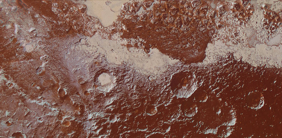 This enhanced color view of Pluto's surface diversity was created by merging Ralph/Multispectral Visible Imaging Camera (MVIC) color imagery (650 meters or 2,132 feet per pixel) with Long Range Reconnaissance Imager panchromatic imagery (230 meters or 755 feet per pixel). At lower right, ancient, heavily cratered terrain is coated with dark, reddish tholins. At upper right, volatile ices filling the informally named Sputnik Planum have modified the surface, creating a chaos-like array of blocky mountains. Volatile ice also occupies a few nearby deep craters, and in some areas the volatile ice is pocked with arrays of small sublimation pits. At left, and across the bottom of the scene, gray-white methane ice deposits modify tectonic ridges, the rims of craters, and north-facing slopes. The scene in this image is 260 miles (420 kilometers) wide and 140 miles (225 kilometers) from top to bottom; north is to the upper left. Credits: NASA/JHUAPL/SwRI