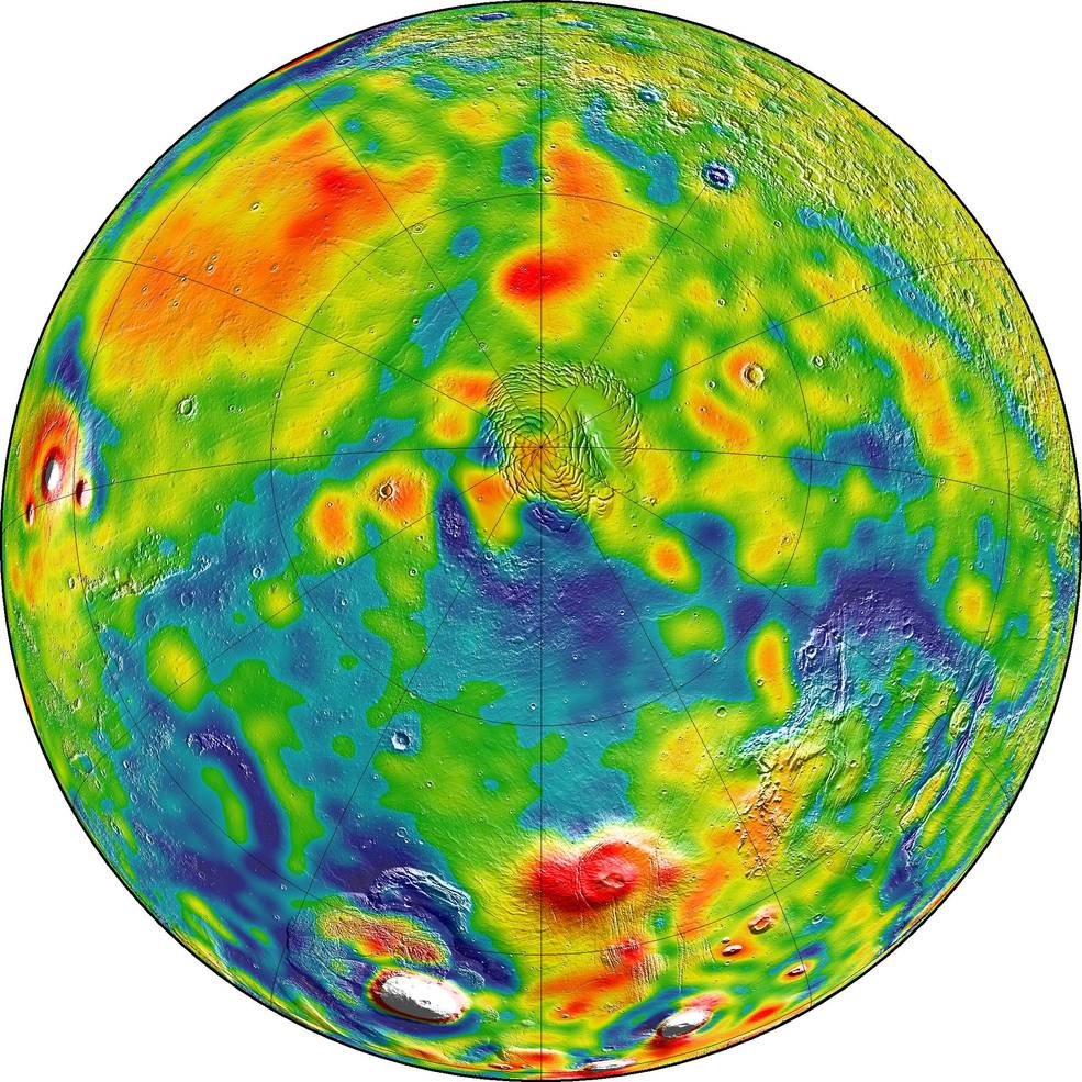 A map of Martian gravity looking down on the North Pole (center). White and red are areas of higher gravity; blue indicates areas of lower gravity. Credits: MIT/UMBC-CRESST/GSFC