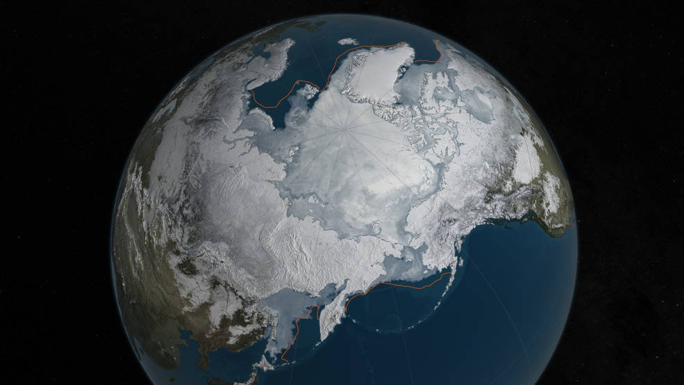 Arctic sea ice was at a record low wintertime maximum extent for the second straight year. At 5.607 million square miles, it is the lowest maximum extent in the satellite record, and 431,000 square miles below the 1981 to 2010 average maximum extent. Credits: NASA Goddard's Scientific Visualization Studio/C. Starr