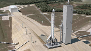 This artist concept shows a SpaceX Crew Dragon atop the company's Falcon 9 at Launch Complex 39A for a launch. Credits: SpaceX