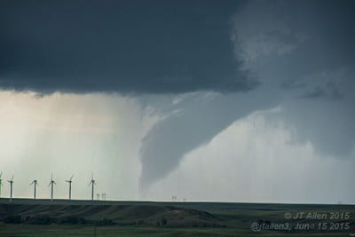 A tornado west of Laramie, Wyoming, June 15, 2015. It passed over mostly rural areas, lasting some 20 minutes. Image credit: John Allen/International Research Institute for Climate and Society