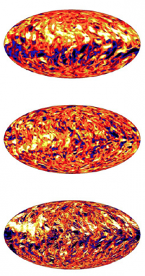 The images show simulations of the Sun's longitudinal magnetic field at the base of the convective zone at low resolution (top), medium resolution (middle), and high resolution (bottom). Image credit: Matthias Rempel, NCAR