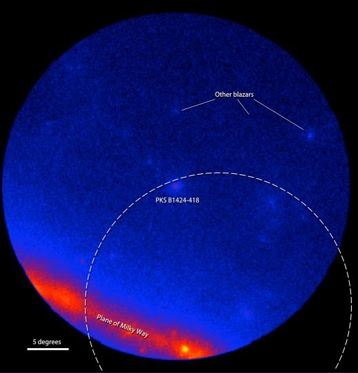 Fermi LAT images showing the gamma-ray sky around the blazar PKS B1424-418. Brighter colors indicate greater numbers of gamma rays. The dashed arc marks part of the source region established by IceCube for the Big Bird neutrino (50-percent confidence level). Left: An average of LAT data centered on July 8, 2011, and covering 300 days when the blazar was inactive. Right: An average of 300 active days centered on Feb. 27, 2013, when PKS B1424-418 was the brightest blazar in this part of the sky. Credits: NASA/DOE/LAT Collaboration