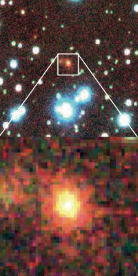 This is a type of galaxy classified as an elliptical galaxy. Its appears red in color and is composed of old stars. The distance was measured to be about five billion light years. Image credit: University of Tokyo.