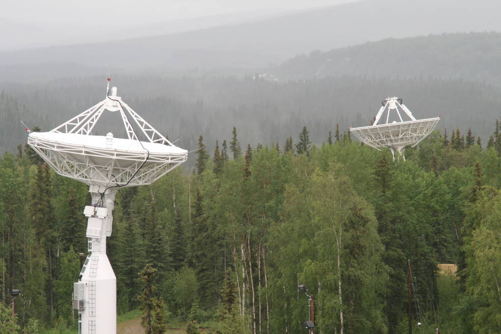 NASA's newest antenna AS-3 in the foreground and AS-1 in the background. Both are at the Alaska Satellite Facility operated by the University of Alaska, Fairbanks. Credits: NASA