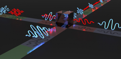 Depiction of indistinguishable photons leaving through the same output port of a beam splitter. Credit: Lucian Comandar
