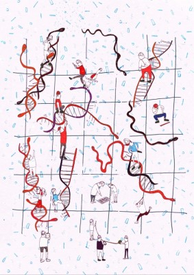 """""""Snakes and ladders"""" – workers representing the repair system known as nucleotide excision repair (NER), repairing DNA and snakes, representing proteins that bind DNA at gene promoters, potentially preventing them from doing this Illustration: Jackie Mostek"""