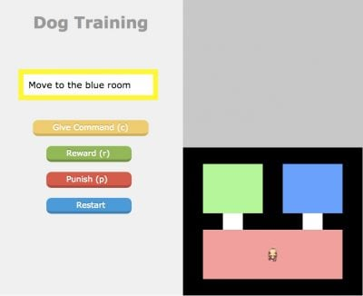 Virtual environments in which trainers gave directions to robot dog.