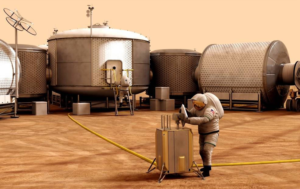 This artist concept represents work taking place on Mars. It is based on current studies in developing hardware and operations necessary for a sustainable human presence on the Red Planet. Credits: NASA