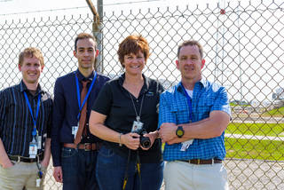 The team from Eli Lilly and Company and CASIS, Kevin Tyre, Kristofer Gonzalez-DeWhitt, April Spinale and Michael Hickey, at launch site of their investigation. Credits: Eli Lilly and Company