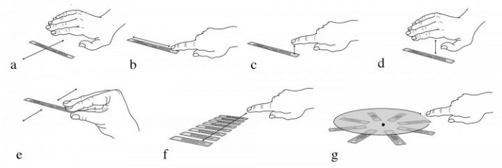 Types of interaction: (a) wave; (b) swipe; (c) finger touch; (d) cover touch; (e) free air tag motion; (f) slider; (g) knob. Image credit: Eric Brockmeyer/Disney Research