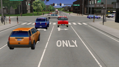 The UI National Advanced Driving Simulator's new virtual city is fully customizable from lane markings to pedestrian traffic to weather conditions. Image courtesy of the UI National Advanced Driving Simulator.