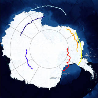 Six BARREL balloons flew above Antarctica during a January 2014 solar storm. The different-colored tracks trace out the paths of the balloons. Together, the measurements from these balloons showed how Earth's magnetic field shifts during a solar storm. The BARREL balloons were launched from Antarctic research stations SANAE IV and Halley VI. Credits: NASA/Halford, et al.