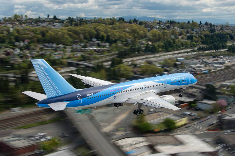 A green aviation technology called Active Flow Control that could lead to smaller vertical tails, reducing drag and fuel use, was flight tested on Boeing's ecoDemonstrator 757. Credits: Boeing / John D. Parker