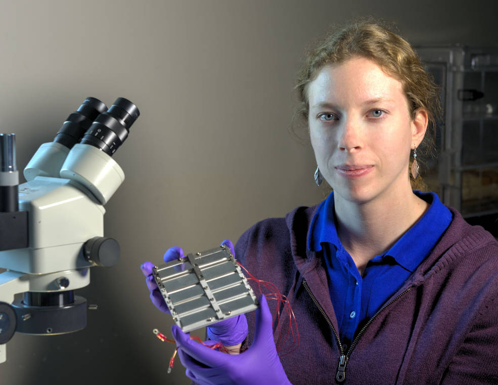 Principal Investigator Allison Evans has repurposed an old thermal-control technology specifically for the increasingly popular CubeSat platform. Credits: NASA/W. Hrybyk