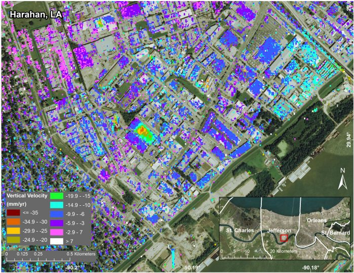 Subsidence in Jefferson Parish, Louisiana, from June 2009 to July 2012, as seen by NASA's UAVSAR instrument. The measured displacements are a combination of movement of the ground and of individual structures. The inset at lower right shows the parish location within Greater New Orleans. Credit: NASA/JPL-Caltech, Esri