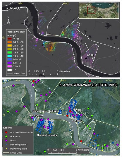 Top: Subsidence rates around Norco, Louisiana, and the location of flood protection levees (white). Bottom: Location of water wells active in 2012, local industry and the Bonnet Carre Spillway. The highest subsidence forms a bowl within the refinery site to the south of the river. Credit: NASA/JPL-Caltech, Esri