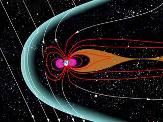 Near Earth's magnetic poles, some of Earth's magnetic field – shown as red in this diagram – loops out into space and connects back to Earth. But some of Earth's polar magnetic field connects directly to the sun's magnetic field, shown here in white. Balloons from NASA's BARREL mission mapped the boundary between these two types of magnetic connection as it shifted and changed during an event called a solar storm. Credits: NASA