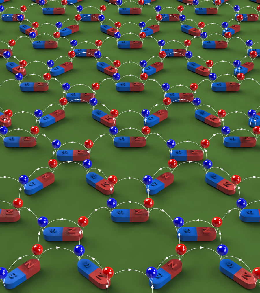 A depiction of magnetic charge ice. Nanoscale magnets are arranged in a two-dimensional lattice. Each nanomagnet produces a pair of magnetic charges, one positive (red ball on the north pole) and one negative (blue ball on the south pole). The magnetic flux lines (white) point from positive charges to negative charges