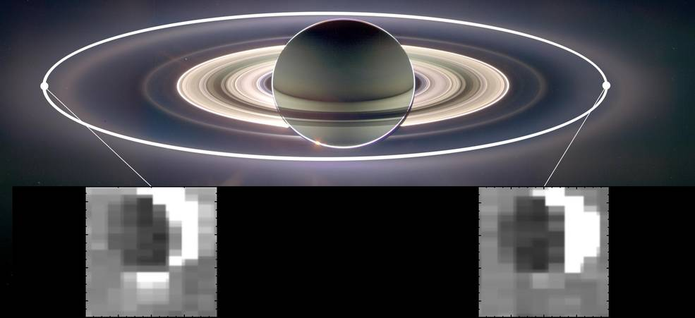 The gravitational pull of Saturn changes the amount of particles spraying from the south pole of Saturn's active moon Enceladus at different points in its orbit. More particles make the plume appear much brighter in the infrared image at left. Credits: NASA/JPL-Caltech/University of Arizona/Cornell/SSI