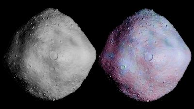 Simulated cratering and topography are overlaid on radar imagery of asteroid 1999 RQ36. Image credit: NASA/GSFC/UA/Mike Nolan-Arecibo Observatory/Bob Gaskell-Planetary Science Institute