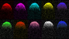 Pop radar! Doppler images, presented in the style of Andy Warhol, show views of asteroid 1999 RQ36 from Earth. Image credit: NASA/JPL/Goldstone