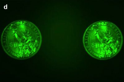 Images of a one-dollar coin under green LED illumination. Image courtesy of the Capasso Lab/Harvard SEAS