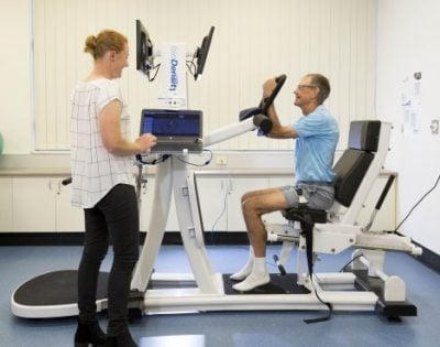 High-load resistance training is being investigated as a way to improve bone and muscle strength in men. Credit: Griffith University