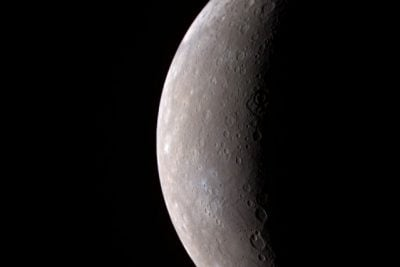 An image, taken by MESSENGER during its Mercury flyby on Jan. 14, 2008, of Mercury's full crescent. Image credit: NASA/Johns Hopkins University Applied Physics Laboratory/Carnegie Institution of Washington