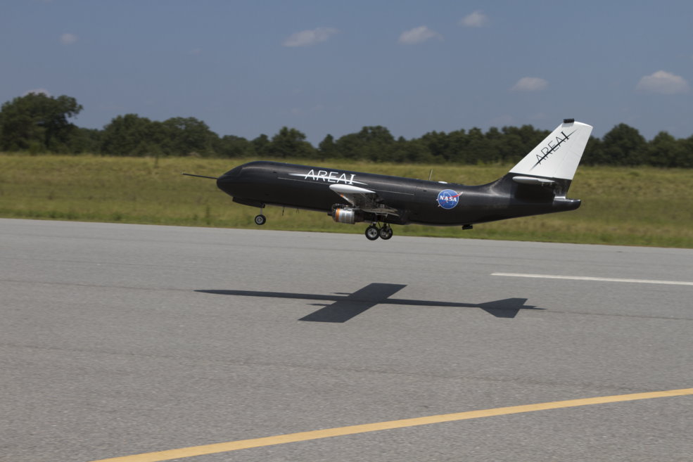 The Prototype-Technology Evaluation Research Aircraft, or PTERA, was flown and tested in Georgia skies in 2014. The aircraft, a 10-percent scale model of a medium-range twinjet airplane, can be used to test any number of aeronautical technologies, from advanced control algorithms to avant-garde wing designs. Credits: Area-I Inc.
